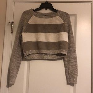 Express white and cream striped crop sweater